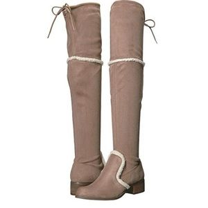 CHARLES DAVID Gunter over the knee suede boots